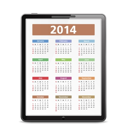 2014 Calendar on the screen of tablet pc Vector