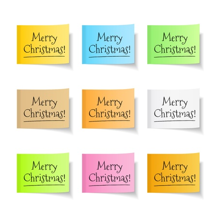 sticky hands: Merry christmas congratulation on yellow sticky note