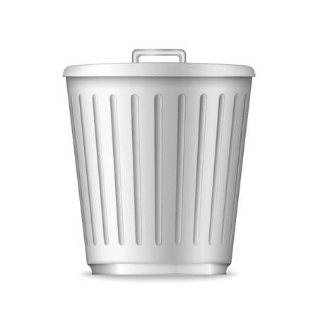 scrapyard: Trash can on white background