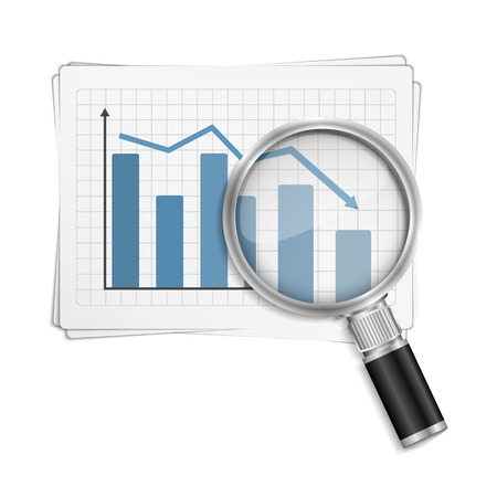 Bar graph with magnifying glass