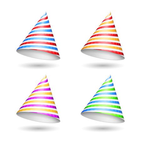 gorros de fiesta: Rayas sombreros de fiesta en el fondo blanco
