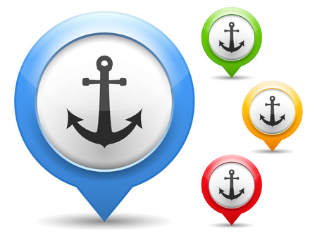 pin icon: Map marker with anchor icon Illustration