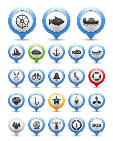 はしけ: 航海と釣りのアイコン、ベクトル eps10 図の設定します。