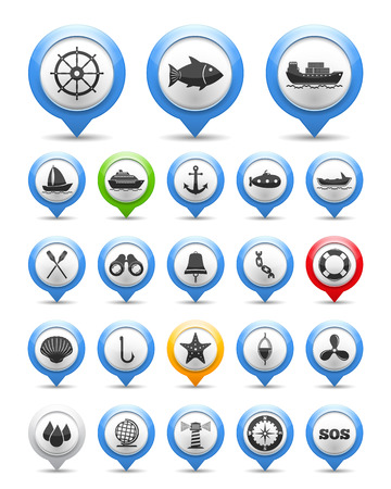 Set of nautical and fishing icons, vector eps10 illustration Vector
