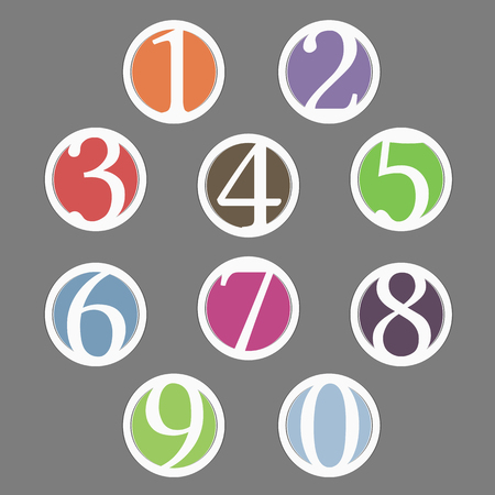 Set of circles with numbers, vector eps10 illustration