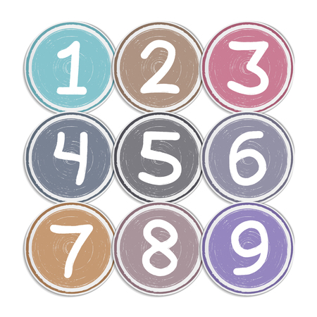 Circles with hand drawn numbers, vector eps10 illustration Vector