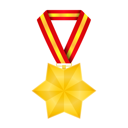 Star shaped golden medal, vector eps10 illustration Vector