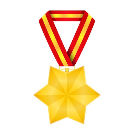 champion: Star shaped golden medal, vector eps10 illustration