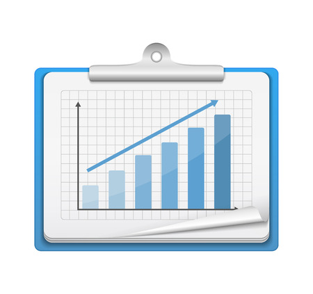 Clipboard with bar graph on white background, vector eps10 illustration Stock Vector - 22698338