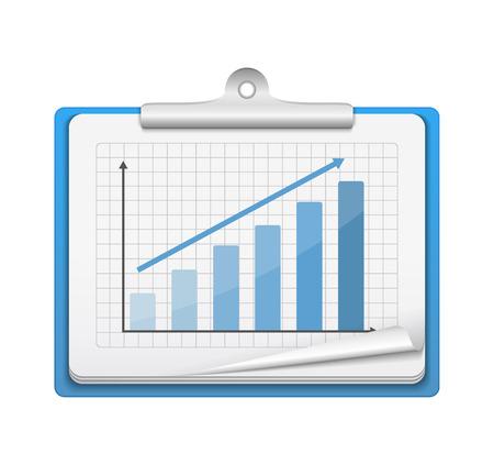 staaf diagram: Klembord met staafdiagram op een witte achtergrond, vector eps10