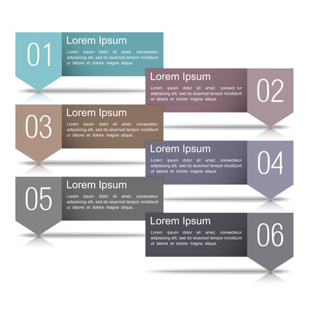 Six infographics design elements with numbers and place for your text Stock Vector - 23101851