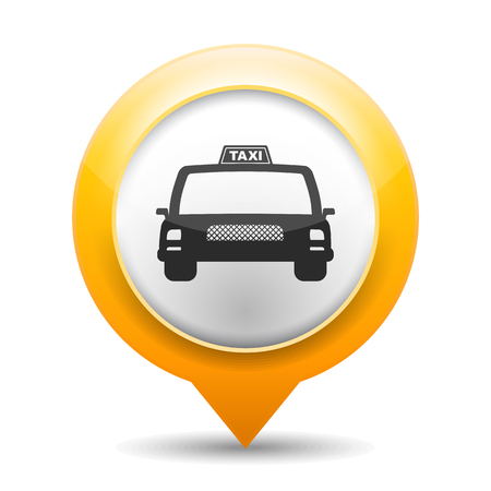 new york taxi: Orange map marker with icon of a taxi Illustration