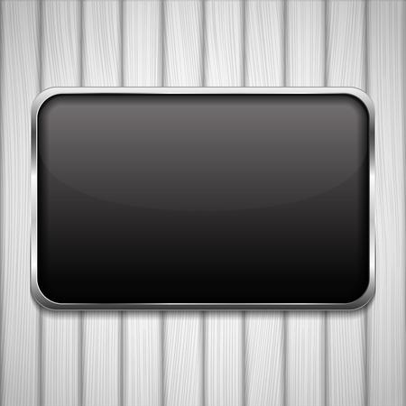 log wall: Black frame on white wood background Illustration