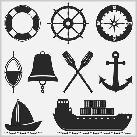 paddle wheel: Silhouettes of nautical objects