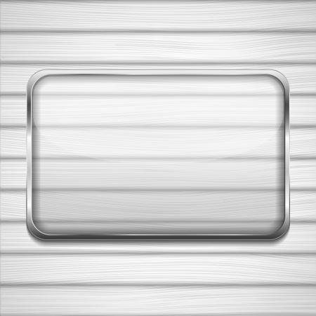Transparent glass frame on white wood. Vector