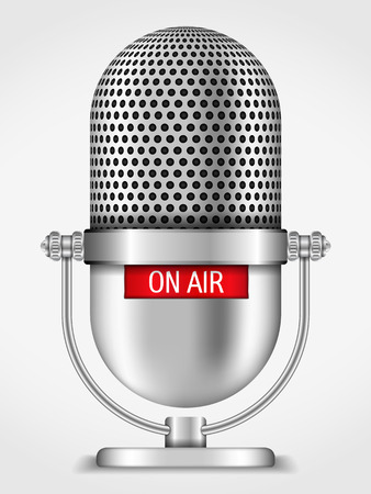 Microfoon aan de lucht. Stock Illustratie