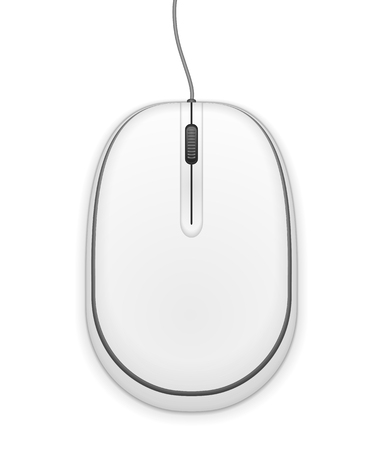 White computer mouse, top view. Vector
