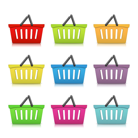 Shopping basket icons. Vector