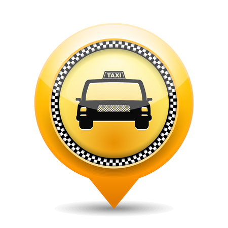 new york taxi: Orange map marker with taxi icon. Illustration