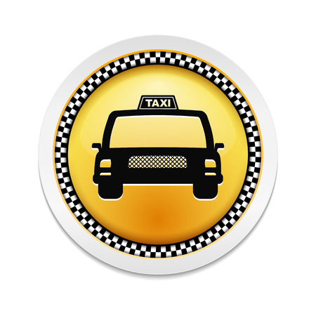 Round label with icon of a taxi