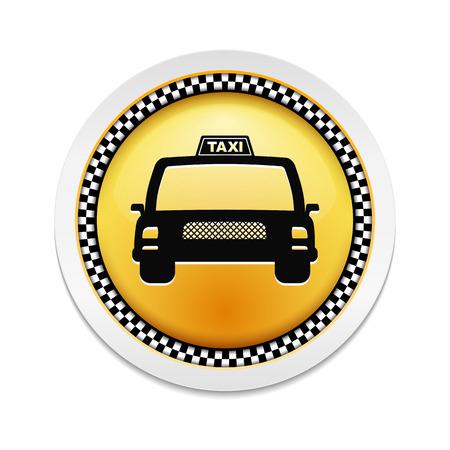 new york street: �tiquette ronde avec l'ic�ne d'un taxi