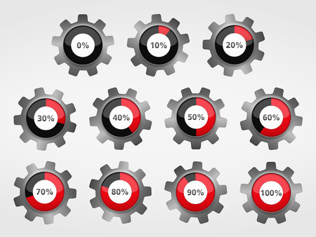 Gears with progress indicators Vector
