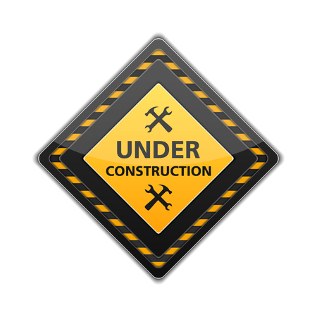 Under construction sign with icon of hammer and wrench Vector