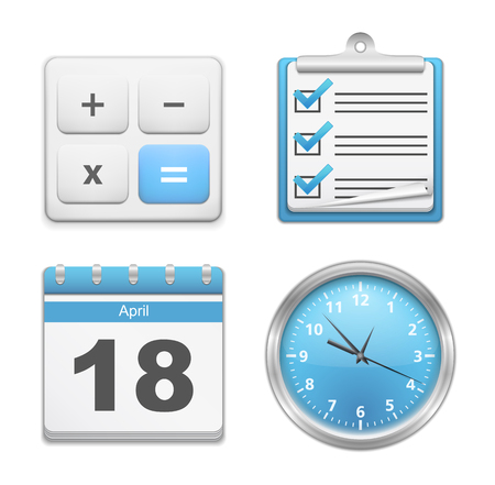 Set of office icons - calculator, clipboard with checklist, calendar and clock Vector