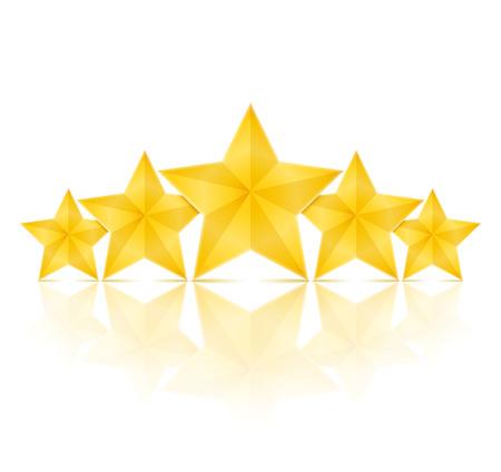 primer lugar: Cinco estrellas de oro con la reflexión Vectores