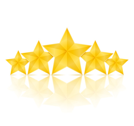 top class: Five golden stars with reflection Illustration