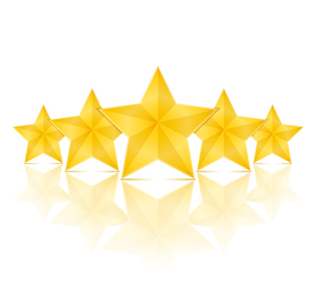first rate: Five golden stars with reflection on white background