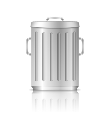 cleaning bucket: Trash can with lid on white background