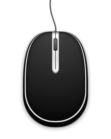 scroll wheel: Black computer mouse on white background