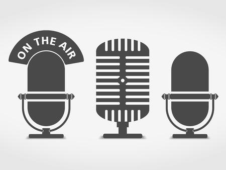 radio broadcasting: Microphone icons set Illustration