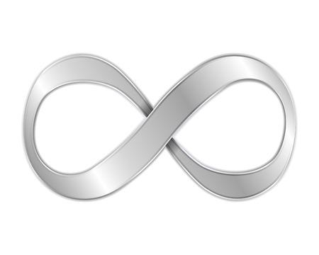 Metálico símbolo de infinito Ilustración de vector