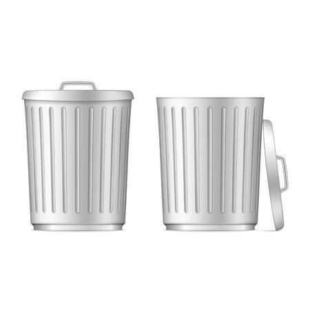botes de basura: Botes de basura en blanco Vectores