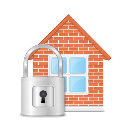 home security: Brick house with lock