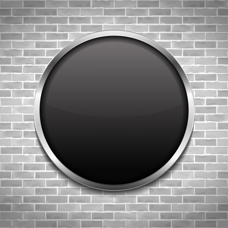 Round black board on brick wall Vector