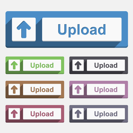 Upload button, flat design Stock Vector - 24093884