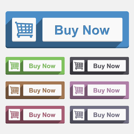 buy now: Buy Now Button, flat design Illustration