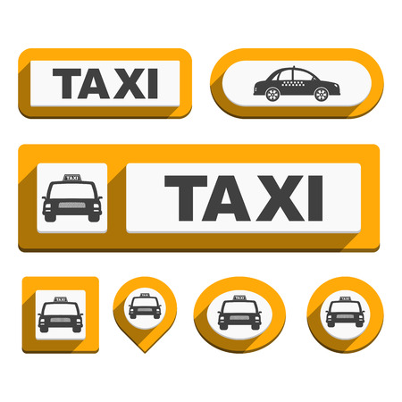 new york taxi: Taxi Icons and Buttons Illustration