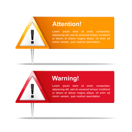 warning triangle: Attention and Warning Banners