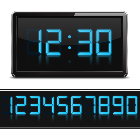 Digital clock and set of glowing numbers, vector eps10 illustration Vector