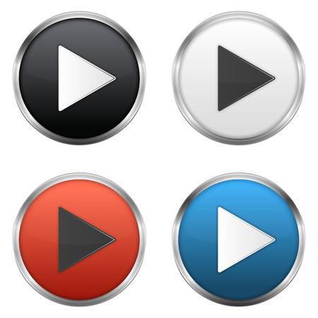 Botones de reproducción metálicas fijadas, ilustración vectorial de eps10