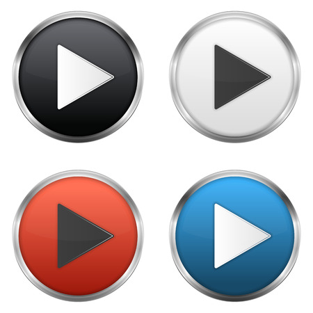 blue buttons: Metallic play buttons set,  vector eps10 illustration