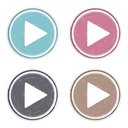 Hand drawn play buttons set, vector eps10 illustration Vector