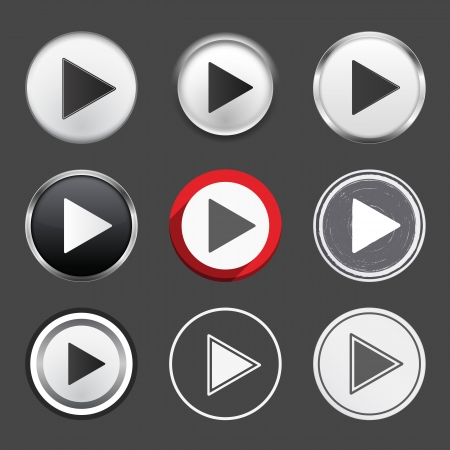 Set of different play buttons, vector eps10 illustration Illustration