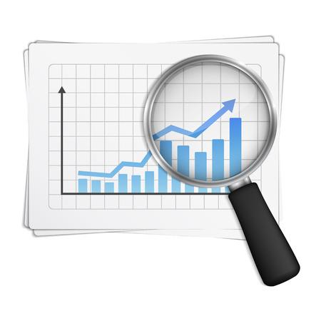 analyse: Magnifying glass showing rising bar graph