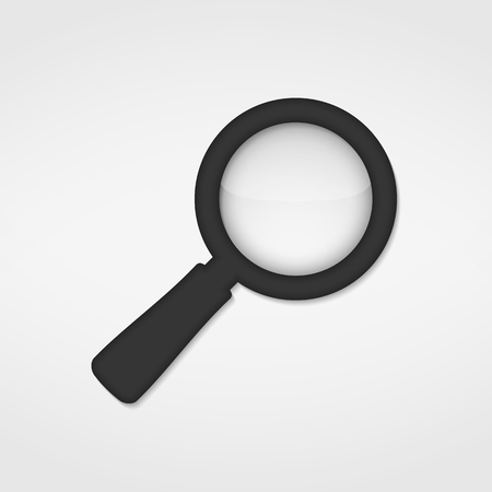 optical glass: Gray magnifying glass icon