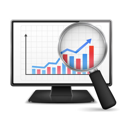 Magnifying glass showing rising bar graph with arrow on the screen of computer monitor